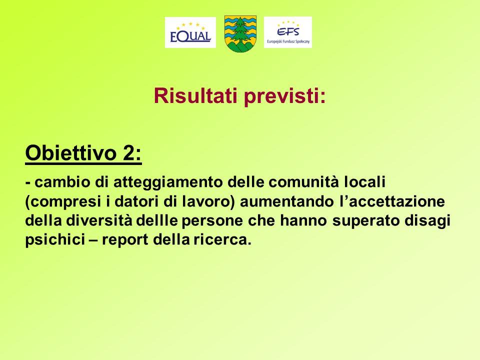 Obiettivo 2: - cambio di atteggiamento delle comunità locali (compresi i datori di lavoro) aumentando laccettazione della diversità dellle persone che hanno superato disagi psichici – report della ricerca.