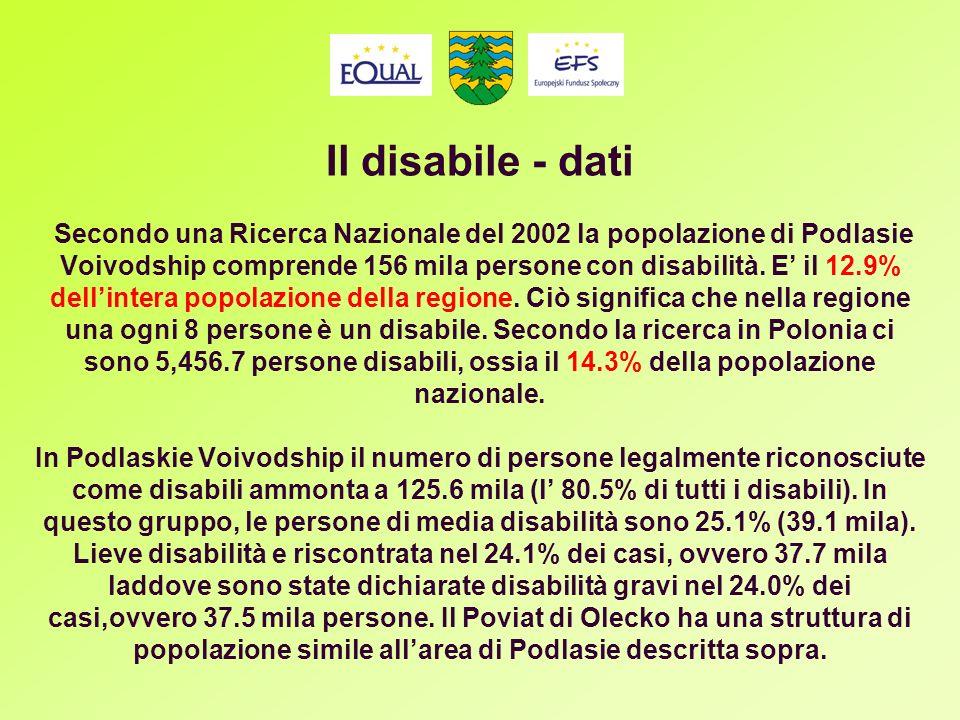 Il disabile - dati Secondo una Ricerca Nazionale del 2002 la popolazione di Podlasie Voivodship comprende 156 mila persone con disabilità.