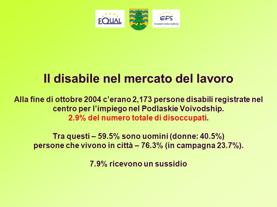 Il disabile nel mercato del lavoro Alla fine di ottobre 2004 cerano 2,173 persone disabili registrate nel centro per limpiego nel Podlaskie Voivodship.