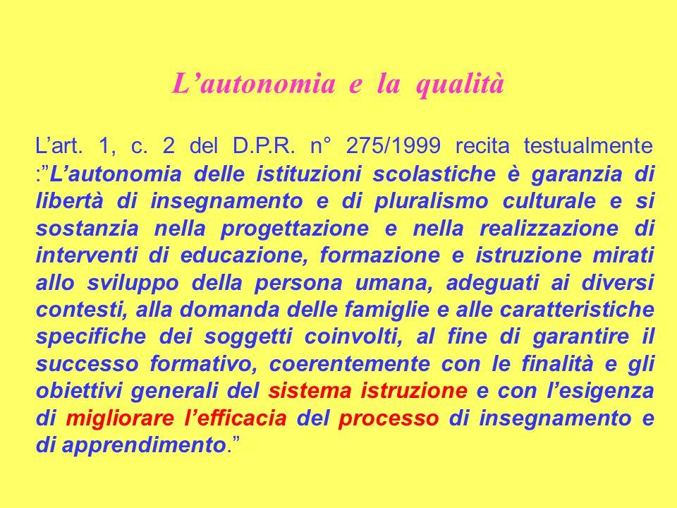 Lautonomia e la qualità Lart. 1, c. 2 del D.P.R. n° 275/1999 recita testualmente :Lautonomia delle istituzioni scolastiche è garanzia di libertà di in