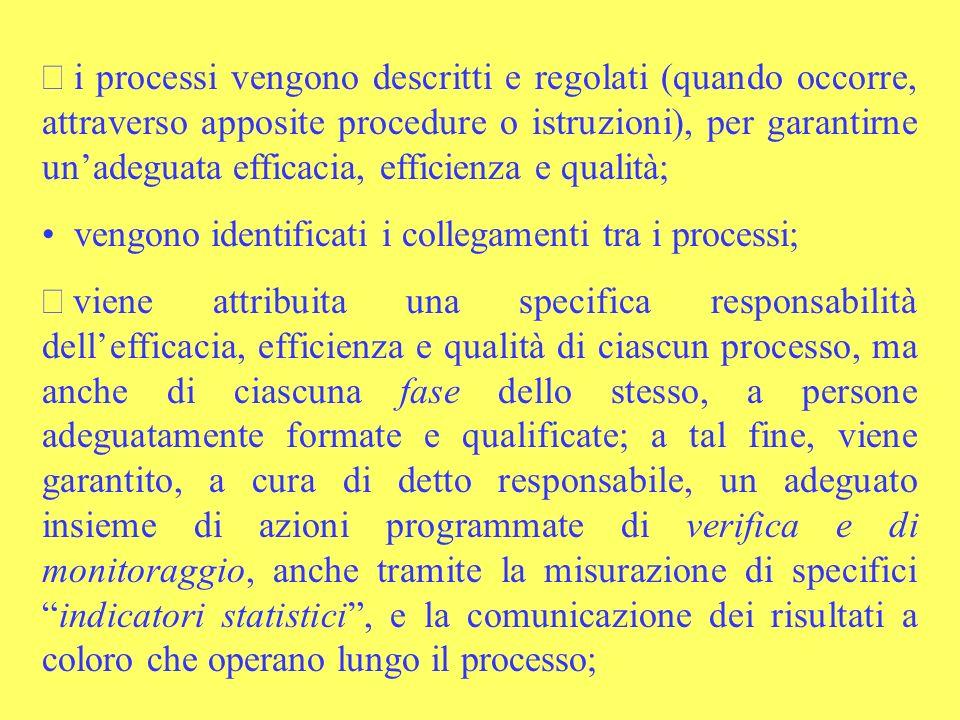 i processi vengono descritti e regolati (quando occorre, attraverso apposite procedure o istruzioni), per garantirne unadeguata efficacia, efficienza