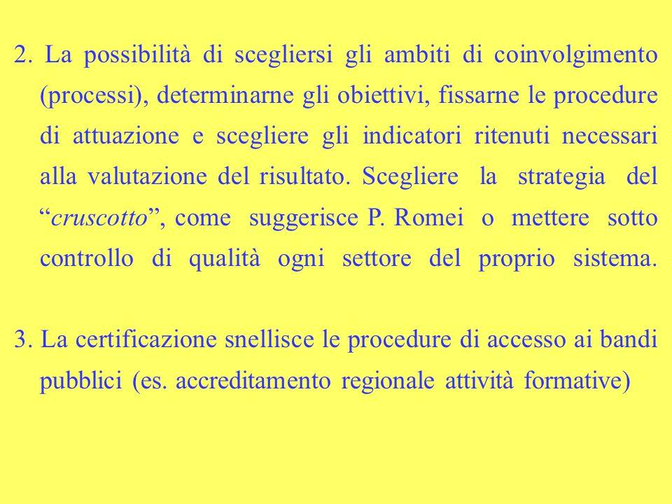 2. La possibilità di scegliersi gli ambiti di coinvolgimento (processi), determinarne gli obiettivi, fissarne le procedure di attuazione e scegliere g