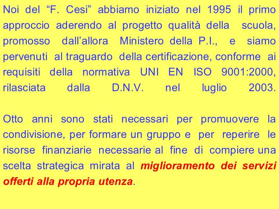 Noi del F. Cesi abbiamo iniziato nel 1995 il primo approccio aderendo al progetto qualità della scuola, promosso dallallora Ministero della P.I., e si