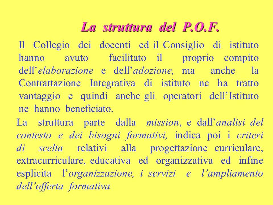 La struttura del P.O.F. Il Collegio dei docenti ed il Consiglio di istituto hanno avuto facilitato il proprio compito dellelaborazione e delladozione,