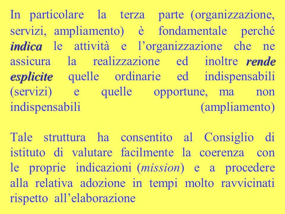indica rende esplicite In particolare la terza parte (organizzazione, servizi, ampliamento) è fondamentale perché indica le attività e lorganizzazione