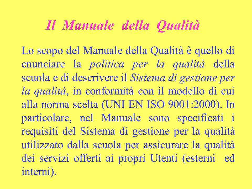 Il Manuale della Qualità Lo scopo del Manuale della Qualità è quello di enunciare la politica per la qualità della scuola e di descrivere il Sistema di gestione per la qualità, in conformità con il modello di cui alla norma scelta (UNI EN ISO 9001:2000).