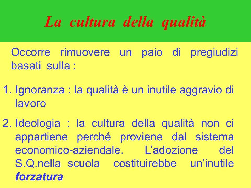 Occorre rimuovere un paio di pregiudizi basati sulla : 1.Ignoranza : la qualità è un inutile aggravio di lavoro 2.Ideologia : la cultura della qualità non ci appartiene perché proviene dal sistema economico-aziendale.