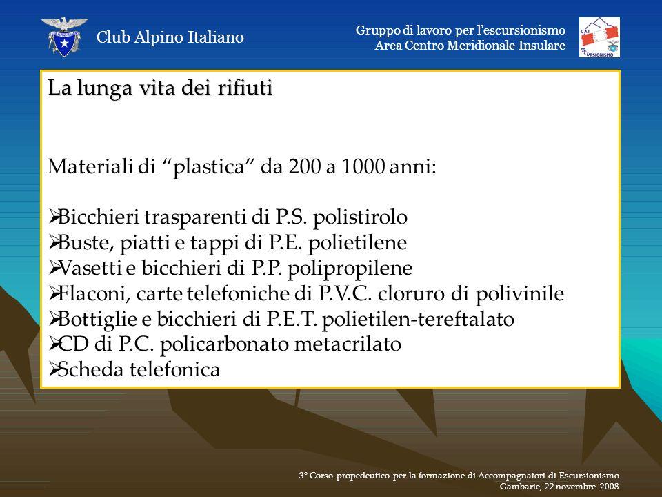 La lunga vita dei rifiuti Materiali di plastica da 200 a 1000 anni: Bicchieri trasparenti di P.S. polistirolo Buste, piatti e tappi di P.E. polietilen