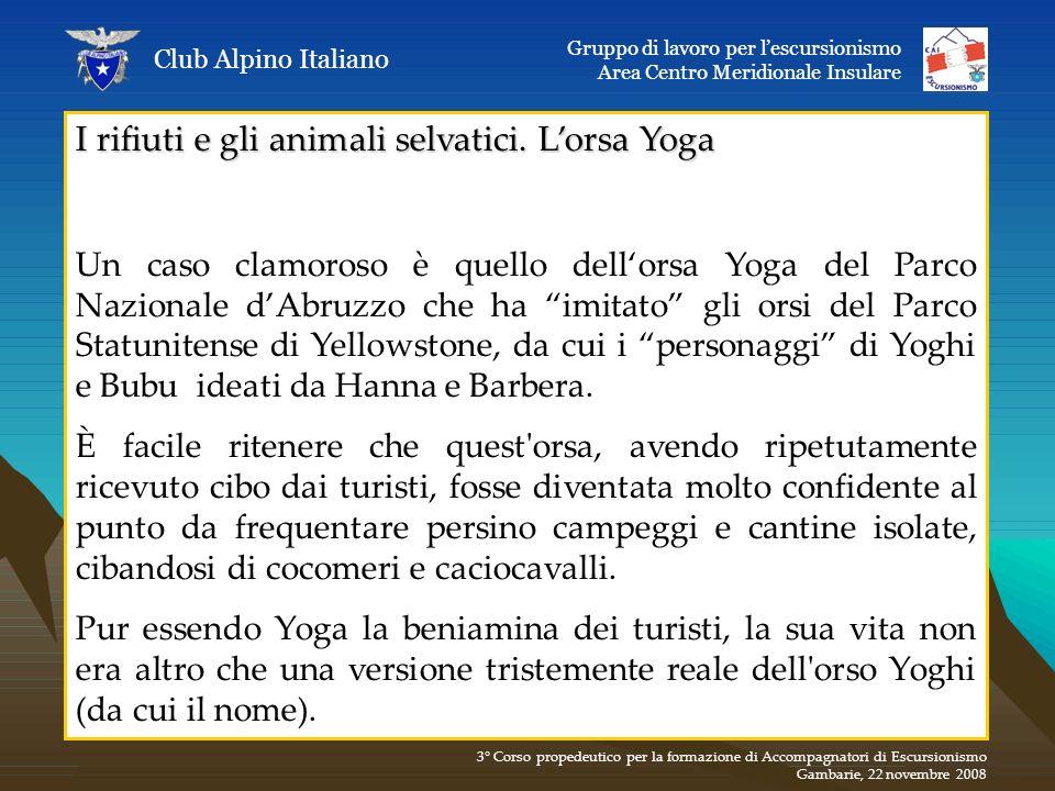 I rifiuti e gli animali selvatici. Lorsa Yoga Un caso clamoroso è quello dellorsa Yoga del Parco Nazionale dAbruzzo che ha imitato gli orsi del Parco