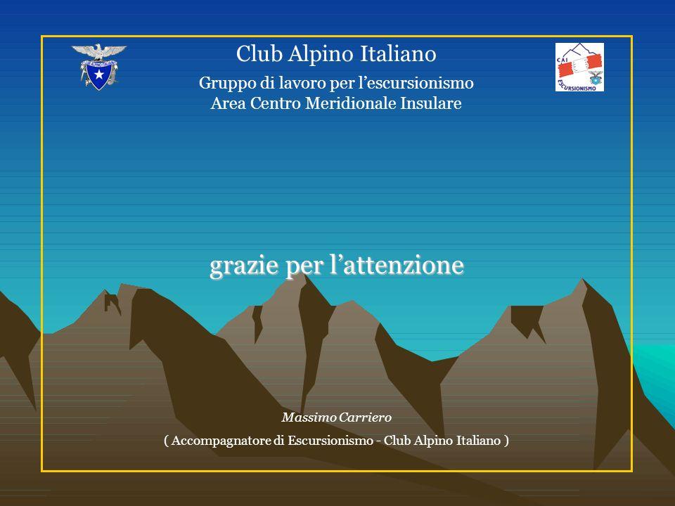 Club Alpino Italiano Gruppo di lavoro per lescursionismo Area Centro Meridionale Insulare grazie per lattenzione Massimo Carriero ( Accompagnatore di