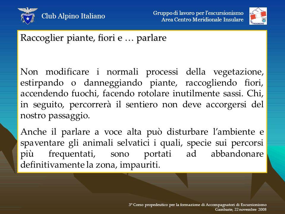 Raccoglier piante, fiori e … parlare Non modificare i normali processi della vegetazione, estirpando o danneggiando piante, raccogliendo fiori, accend