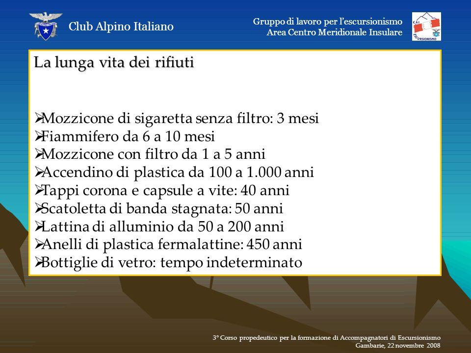 La lunga vita dei rifiuti Mozzicone di sigaretta senza filtro: 3 mesi Fiammifero da 6 a 10 mesi Mozzicone con filtro da 1 a 5 anni Accendino di plasti