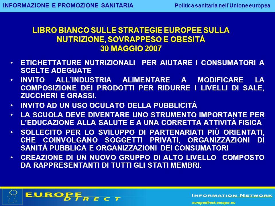europedirect.europa.eu LIBRO BIANCO SULLE STRATEGIE EUROPEE SULLA NUTRIZIONE, SOVRAPPESO E OBESITÀ 30 MAGGIO 2007 ETICHETTATURE NUTRIZIONALI PER AIUTA