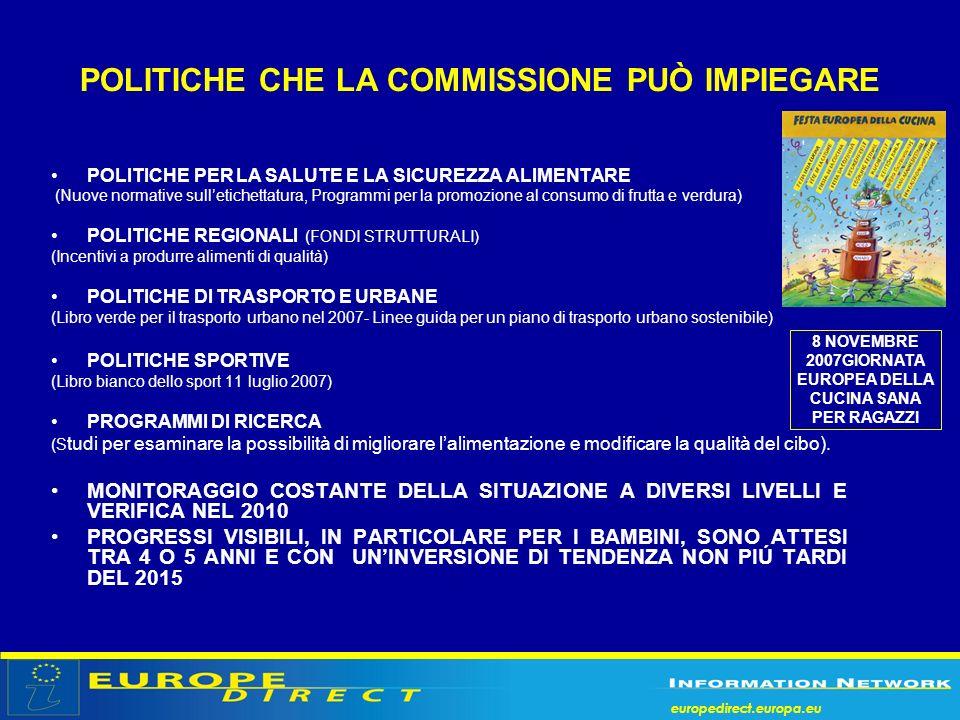 europedirect.europa.eu POLITICHE CHE LA COMMISSIONE PUÒ IMPIEGARE POLITICHE PER LA SALUTE E LA SICUREZZA ALIMENTARE (Nuove normative sulletichettatura