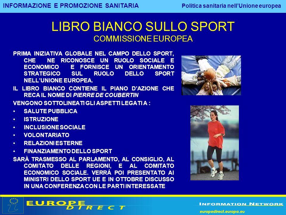 europedirect.europa.eu LIBRO BIANCO SULLO SPORT COMMISSIONE EUROPEA PRIMA INIZIATIVA GLOBALE NEL CAMPO DELLO SPORT, CHE NE RICONOSCE UN RUOLO SOCIALE