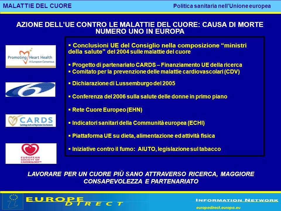 europedirect.europa.eu Conclusioni UE del Consiglio nella composizione ministri della salute del 2004 sulle malattie del cuore Progetto di partenariat
