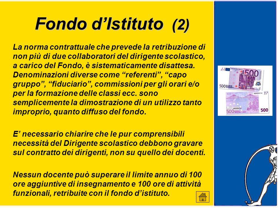 Fondo dIstituto (2) La norma contrattuale che prevede la retribuzione di non più di due collaboratori del dirigente scolastico, a carico del Fondo, è sistematicamente disattesa.