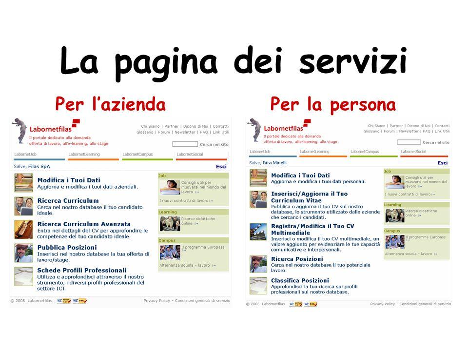 La pagina dei servizi Per laziendaPer la persona