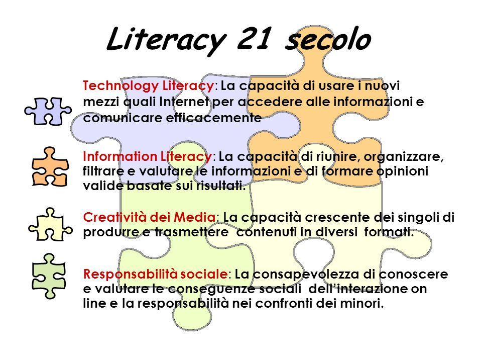 Technology Literacy : La capacità di usare i nuovi mezzi quali Internet per accedere alle informazioni e comunicare efficacemente Creatività dei Media : La capacità crescente dei singoli di produrre e trasmettere contenuti in diversi formati.