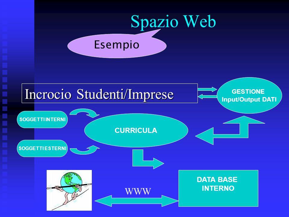 Spazio Web Incrocio Studenti/Imprese GESTIONE Input/Output DATI CURRICULA SOGGETTI INTERNI SOGGETTI ESTERNI DATA BASE INTERNO WWW Esempio