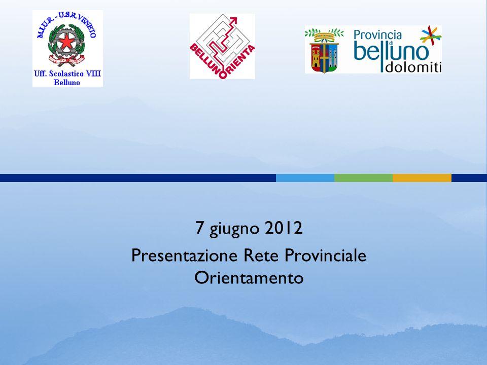 7 giugno 2012 Presentazione Rete Provinciale Orientamento