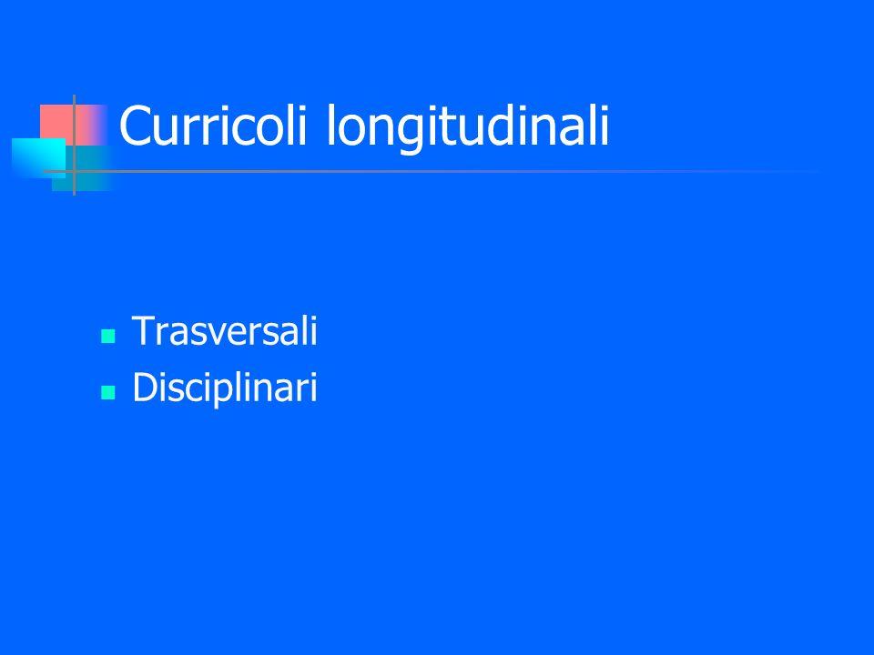Curricoli longitudinali Trasversali Disciplinari