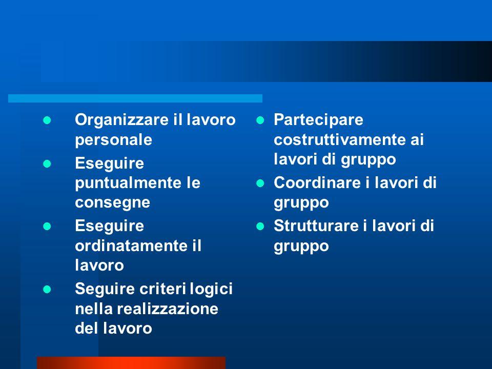 Organizzare il lavoro personale Eseguire puntualmente le consegne Eseguire ordinatamente il lavoro Seguire criteri logici nella realizzazione del lavo