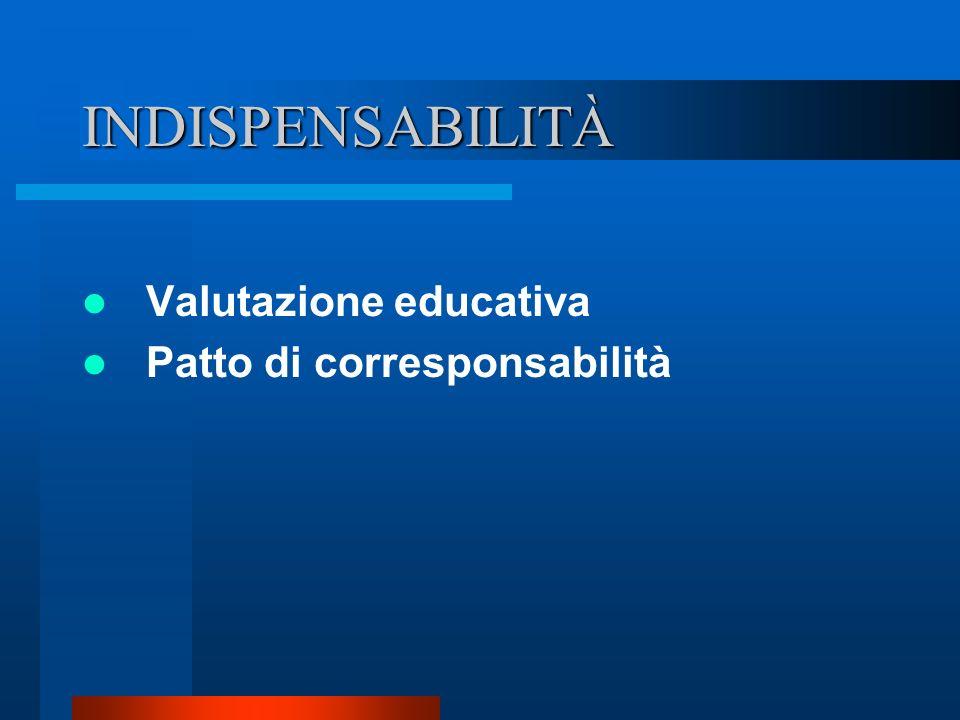 INDISPENSABILITÀ Valutazione educativa Patto di corresponsabilità