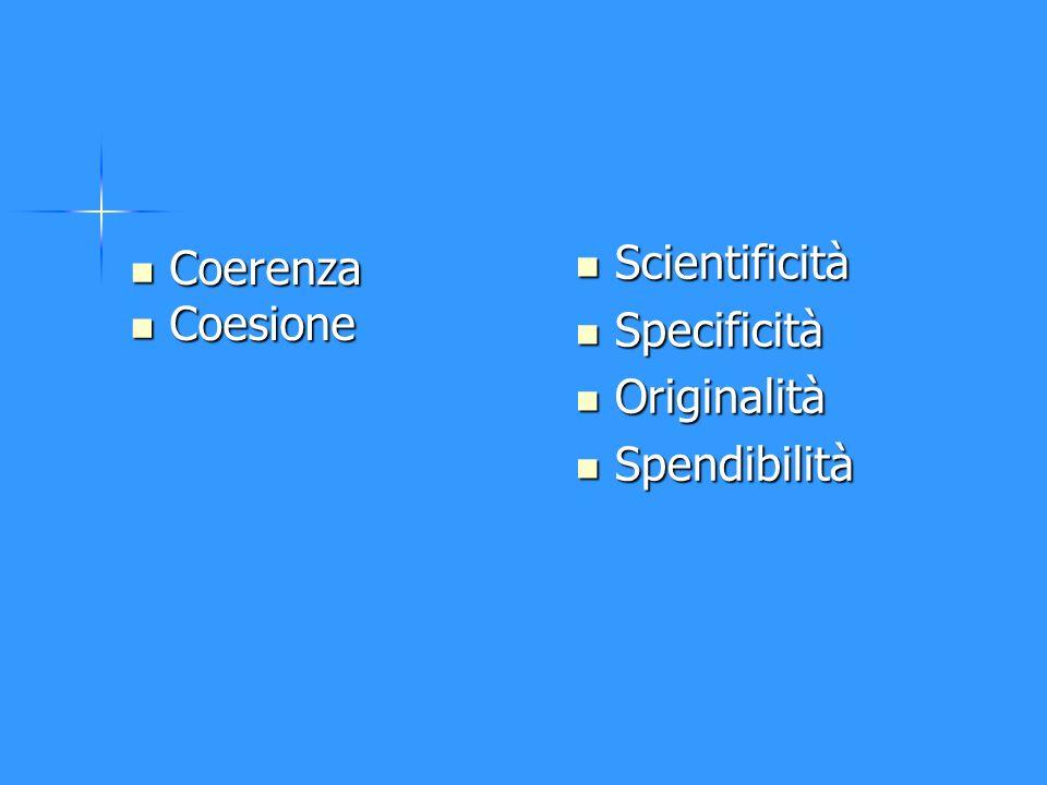 Coerenza Coerenza Coesione Coesione Scientificità Scientificità Specificità Specificità Originalità Originalità Spendibilità Spendibilità