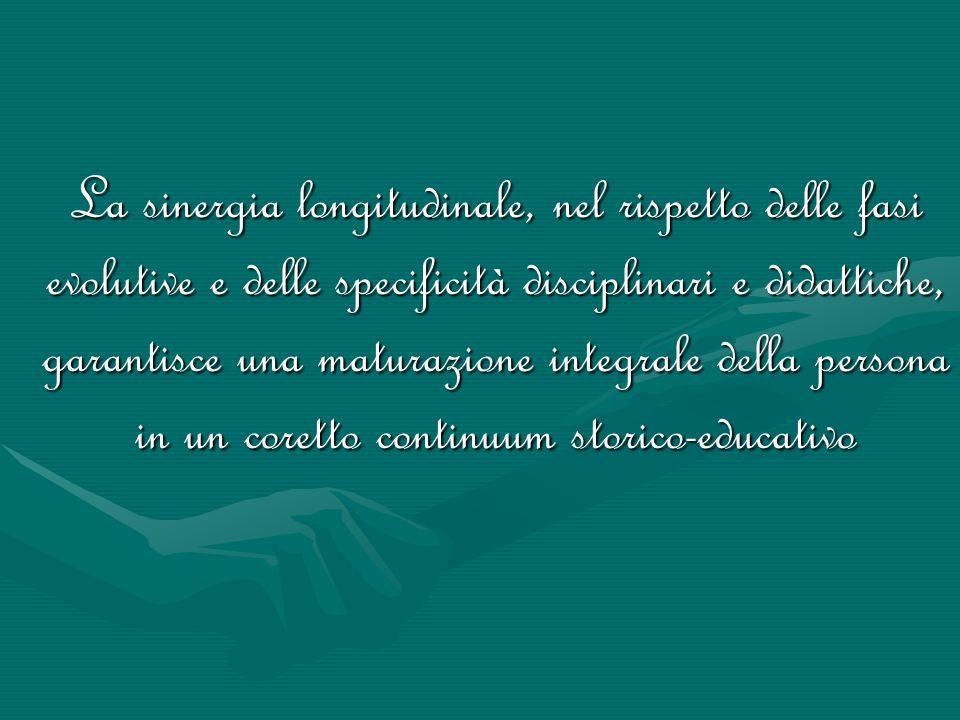 La sinergia longitudinale, nel rispetto delle fasi evolutive e delle specificità disciplinari e didattiche, garantisce una maturazione integrale della