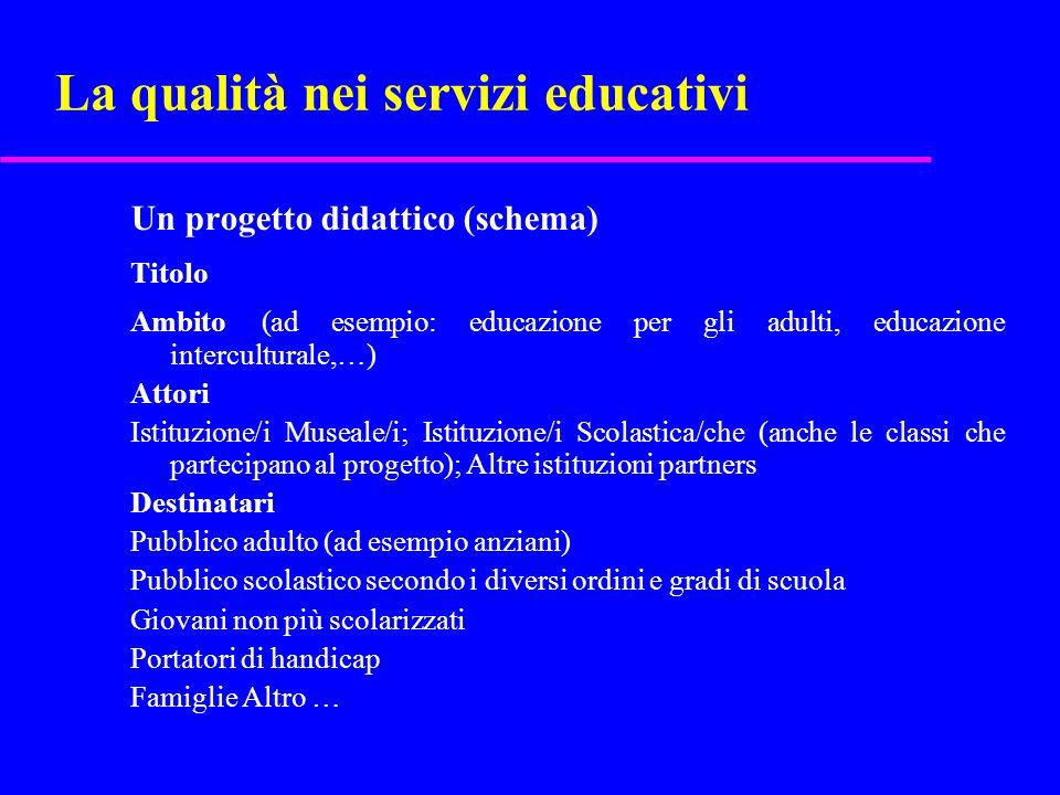 La qualità nei servizi educativi Un progetto didattico (schema) Titolo Ambito (ad esempio: educazione per gli adulti, educazione interculturale,…) Att