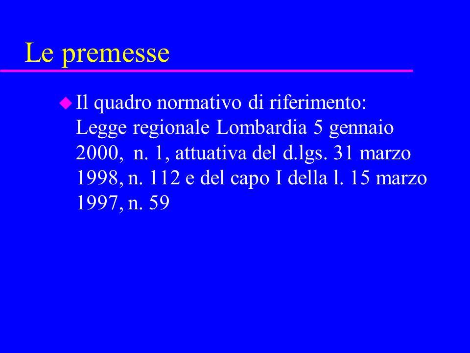 Le premesse u Il quadro normativo di riferimento: Legge regionale Lombardia 5 gennaio 2000, n. 1, attuativa del d.lgs. 31 marzo 1998, n. 112 e del cap