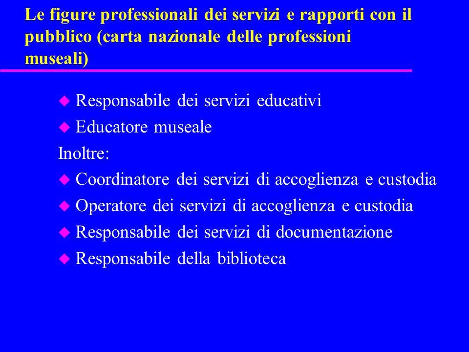 Le figure professionali dei servizi e rapporti con il pubblico (carta nazionale delle professioni museali) u Responsabile dei servizi educativi u Educ
