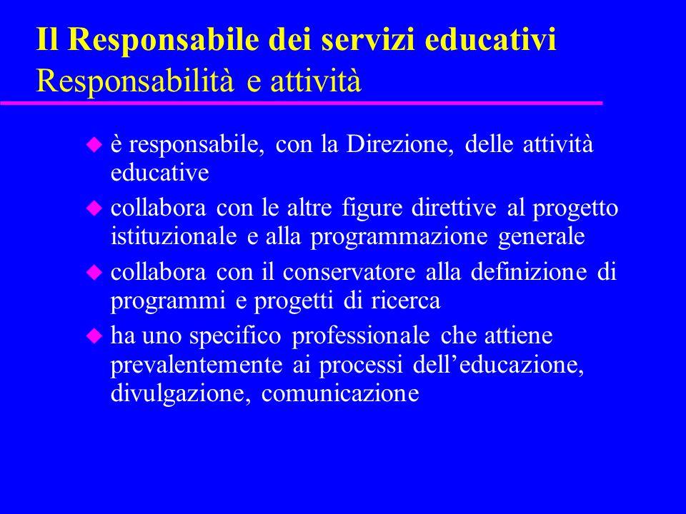 Il Responsabile dei servizi educativi Responsabilità e attività u è responsabile, con la Direzione, delle attività educative u collabora con le altre