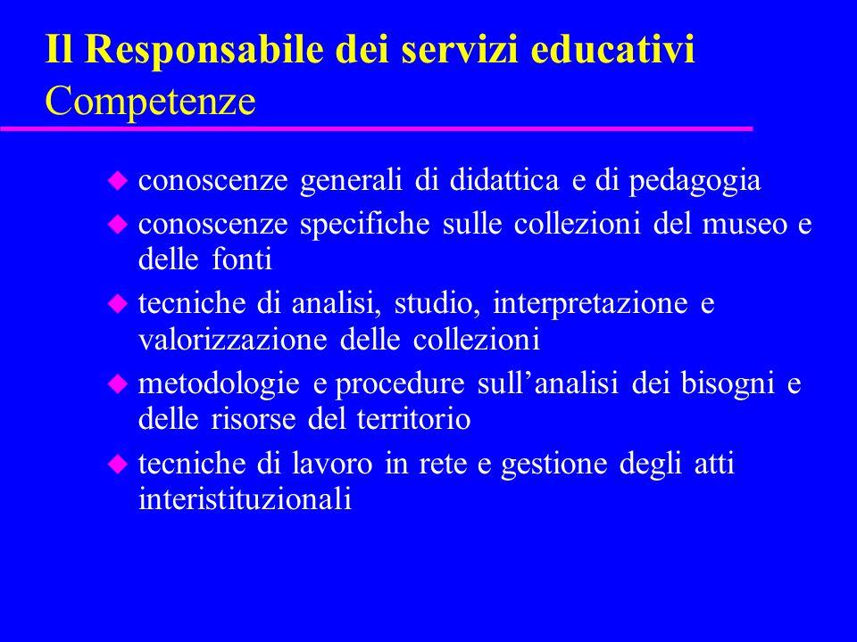 Il Responsabile dei servizi educativi Competenze u conoscenze generali di didattica e di pedagogia u conoscenze specifiche sulle collezioni del museo