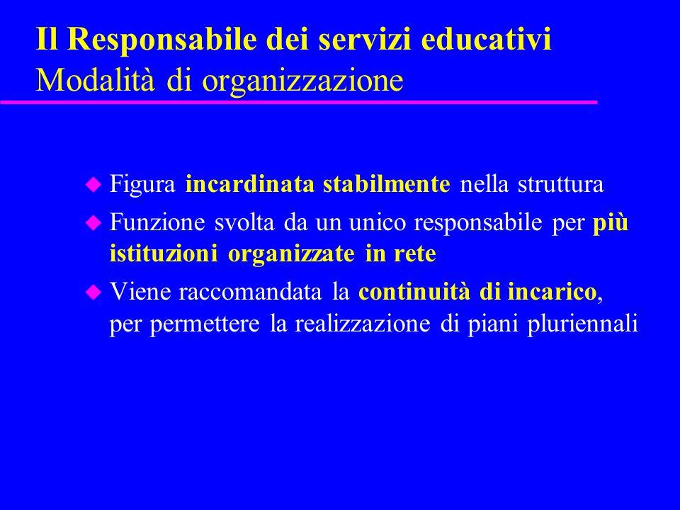 Il Responsabile dei servizi educativi Modalità di organizzazione u Figura incardinata stabilmente nella struttura u Funzione svolta da un unico respon