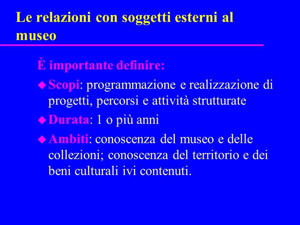 Le relazioni con soggetti esterni al museo È importante definire: u Scopi: programmazione e realizzazione di progetti, percorsi e attività strutturate