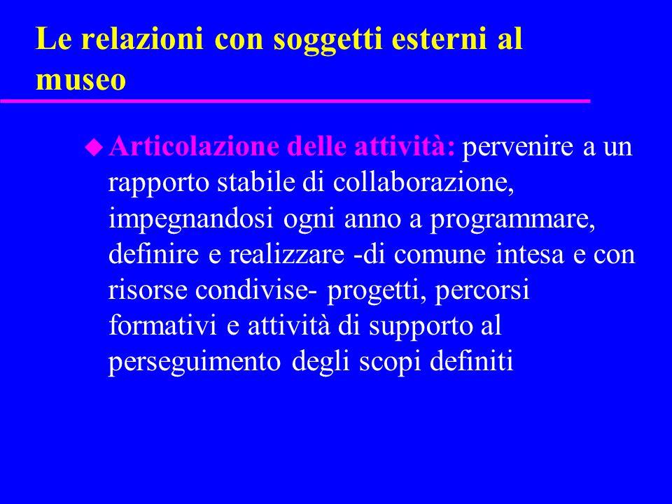 Le relazioni con soggetti esterni al museo u Articolazione delle attività: pervenire a un rapporto stabile di collaborazione, impegnandosi ogni anno a