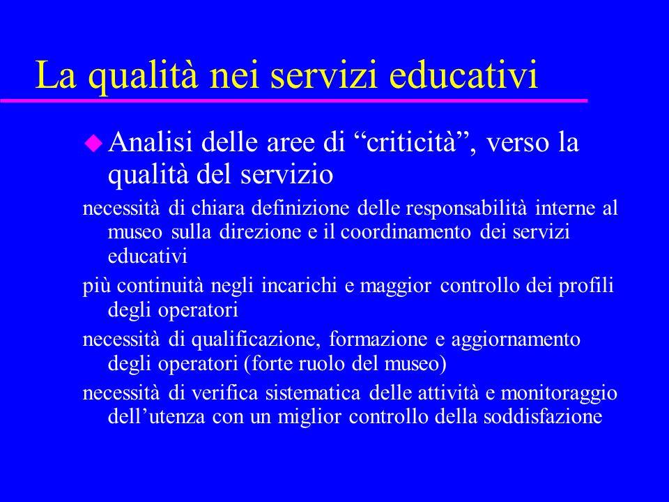 La qualità nei servizi educativi u Punti essenziali -chiarire le finalità di un museo e, tra queste, le finalità educative -tipi di attività offerte -come vengono alimentate, articolate e sostenute (ricerca, documentazione, valutazione)