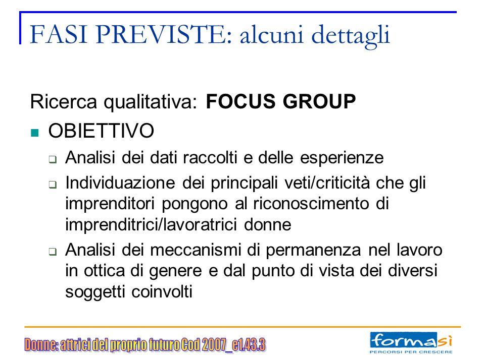 FASI PREVISTE: alcuni dettagli Ricerca qualitativa: FOCUS GROUP OBIETTIVO Analisi dei dati raccolti e delle esperienze Individuazione dei principali v