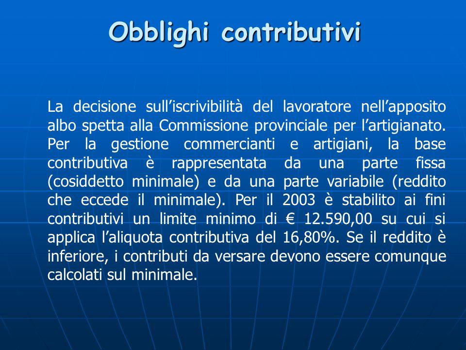 Obblighi contributivi La decisione sulliscrivibilità del lavoratore nellapposito albo spetta alla Commissione provinciale per lartigianato.