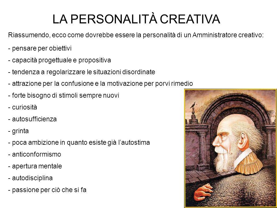 19 LA PERSONALITÀ CREATIVA - pensare per obiettivi - capacità progettuale e propositiva - tendenza a regolarizzare le situazioni disordinate - attrazi