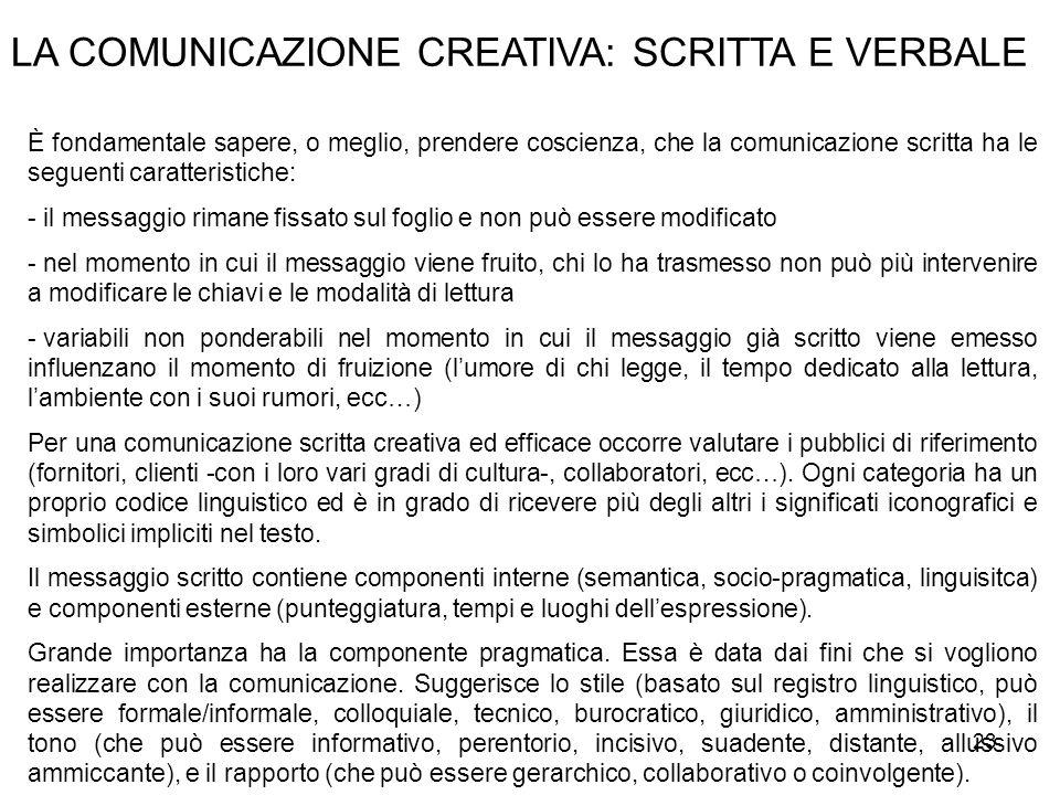 23 LA COMUNICAZIONE CREATIVA: SCRITTA E VERBALE È fondamentale sapere, o meglio, prendere coscienza, che la comunicazione scritta ha le seguenti carat