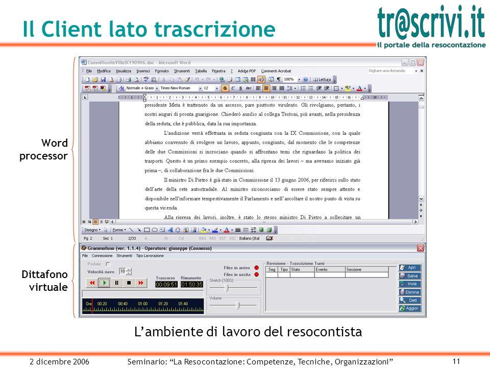 2 dicembre 2006Seminario: La Resocontazione: Competenze, Tecniche, Organizzazioni 11 Il Client lato trascrizione Lambiente di lavoro del resocontista Word processor Dittafono virtuale