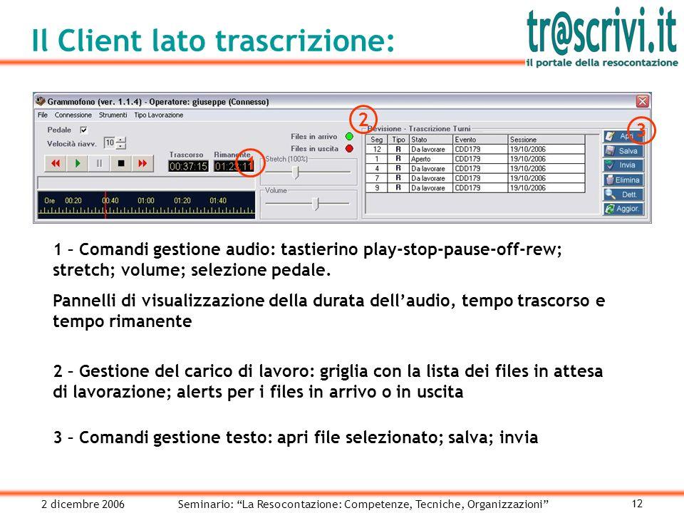2 dicembre 2006Seminario: La Resocontazione: Competenze, Tecniche, Organizzazioni 12 Il Client lato trascrizione: 1 1 – Comandi gestione audio: tastierino play-stop-pause-off-rew; stretch; volume; selezione pedale.