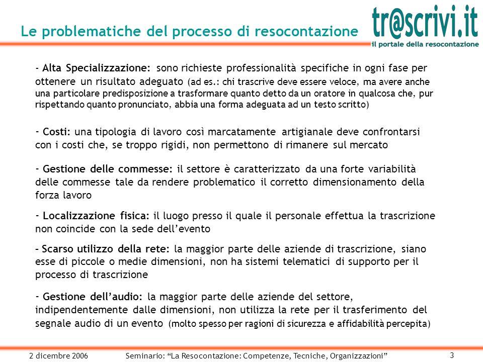 2 dicembre 2006Seminario: La Resocontazione: Competenze, Tecniche, Organizzazioni 14 La pubblicazione Ogni cliente accede ad una sezione a lui dedicata dove può prelevare il resoconto fin a quel momento realizzato.