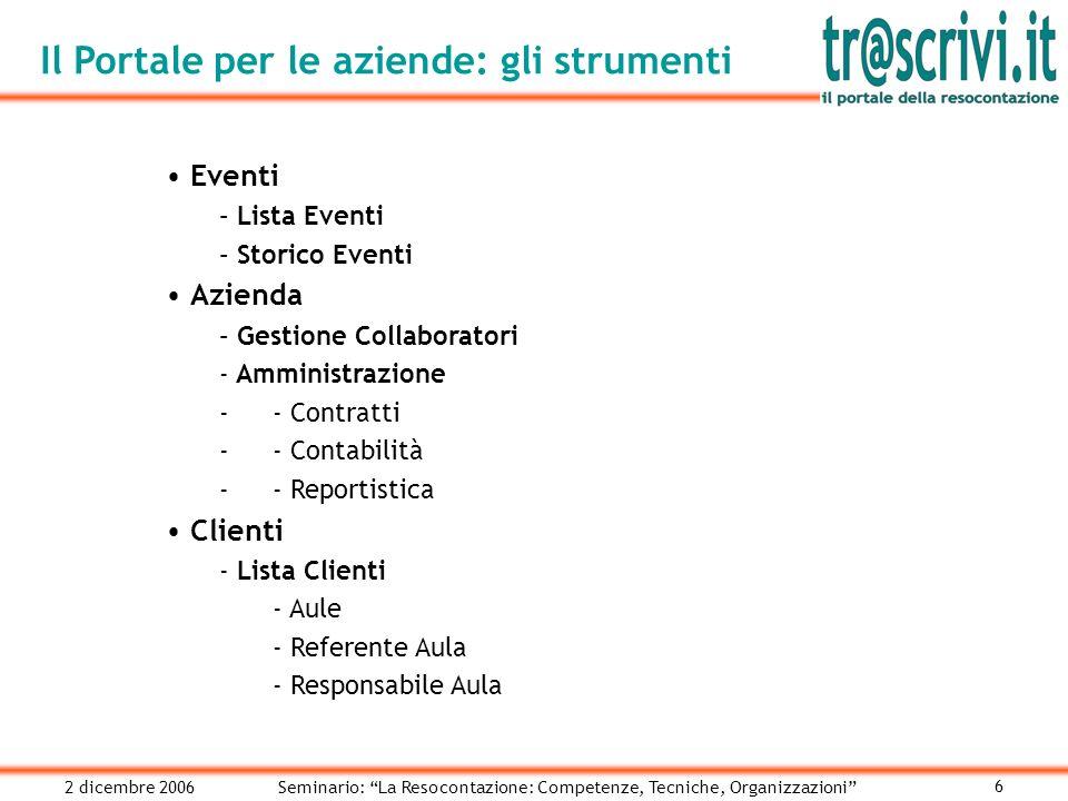 2 dicembre 2006Seminario: La Resocontazione: Competenze, Tecniche, Organizzazioni 6 Eventi – Lista Eventi – Storico Eventi Azienda – Gestione Collaboratori - Amministrazione -- Contratti -- Contabilità -- Reportistica Clienti - Lista Clienti - Aule - Referente Aula - Responsabile Aula Il Portale per le aziende: gli strumenti
