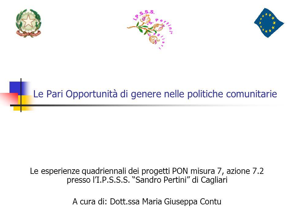 Le Pari Opportunità di genere nelle politiche comunitarie Le esperienze quadriennali dei progetti PON misura 7, azione 7.2 presso lI.P.S.S.S. Sandro P