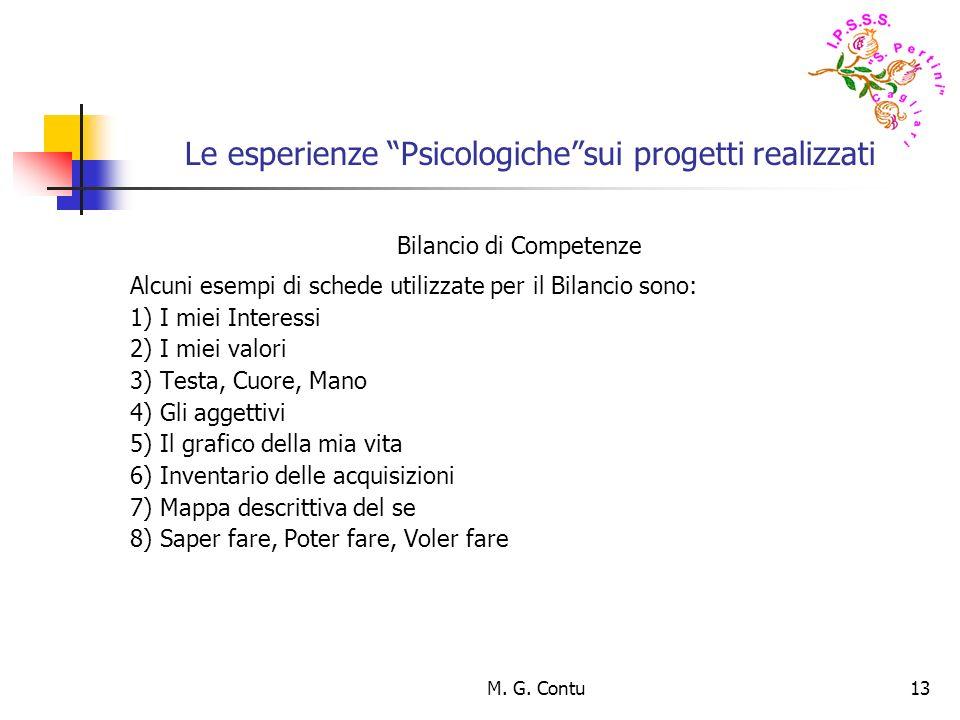M. G. Contu13 Le esperienze Psicologichesui progetti realizzati Bilancio di Competenze Alcuni esempi di schede utilizzate per il Bilancio sono: 1) I m