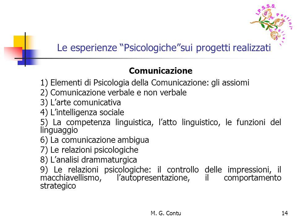 M. G. Contu14 Le esperienze Psicologichesui progetti realizzati Comunicazione 1) Elementi di Psicologia della Comunicazione: gli assiomi 2) Comunicazi
